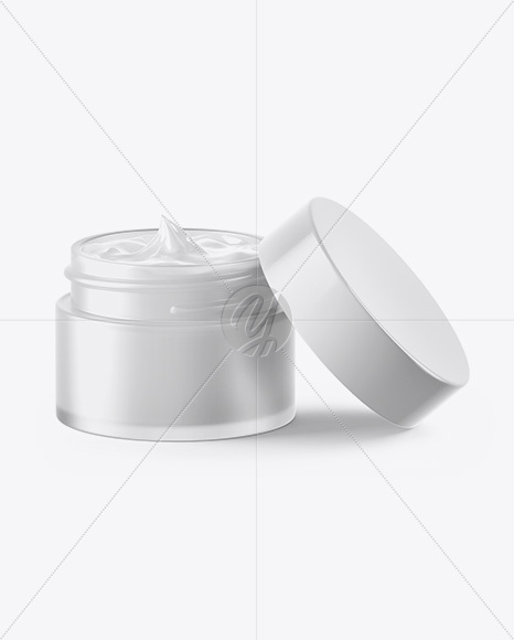 Green Frosted Glass Cosmetic Jar Mockup