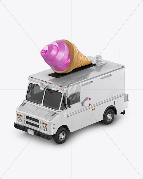 Ice Cream Food Truck Mockup - Half Side View (High-Angle Shot)