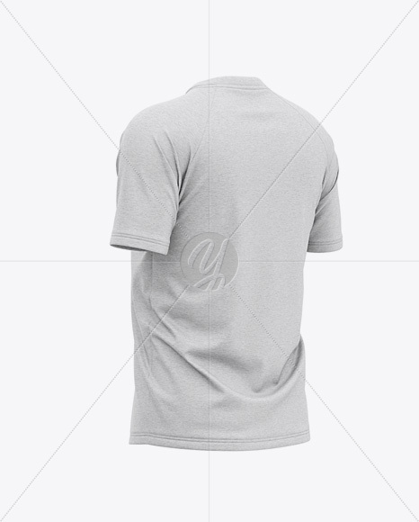 Men's Heather Raglan Short Sleeve T-Shirt Mockup - Back Half Side View