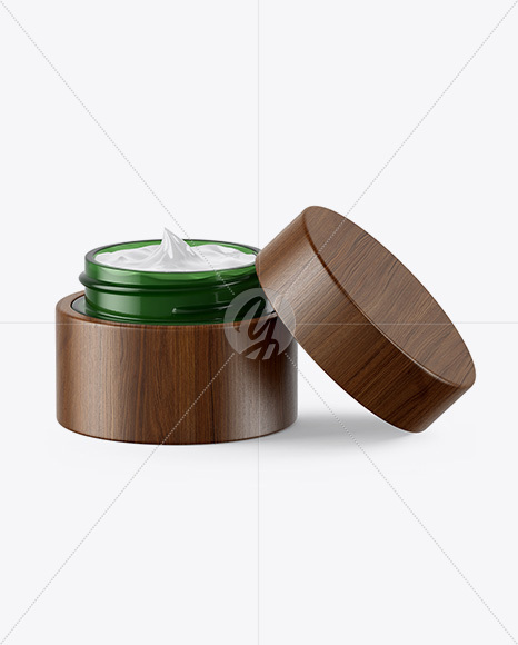 Opened Green Glass Cosmetic Jar in Wooden Shell Mockup