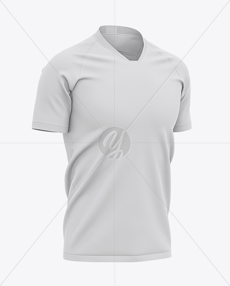 Men's V-Neck Soccer Jersey Mockup - Half-Front View - Football Jersey Soccer T-shirt