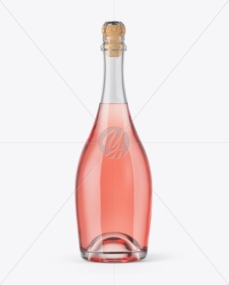 Rose Wine Bottle with Foil Mockup