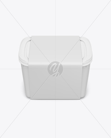 Plastic Box Mockup Top View In Pot Tub Mockups On Yellow Images
