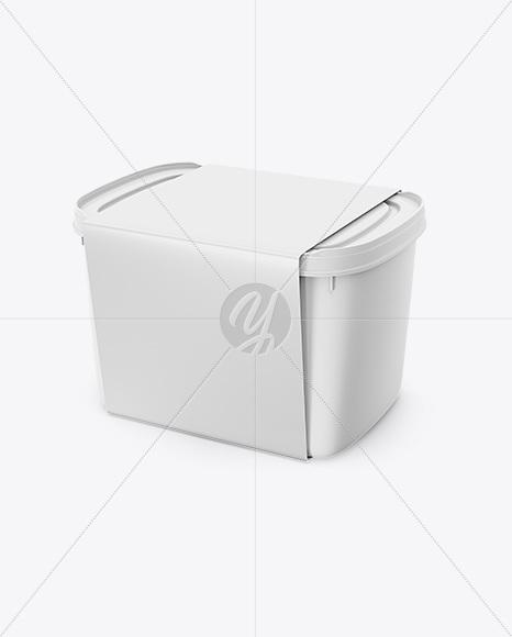 Plastic Box Mockup Half Side View In Pot Tub Mockups On
