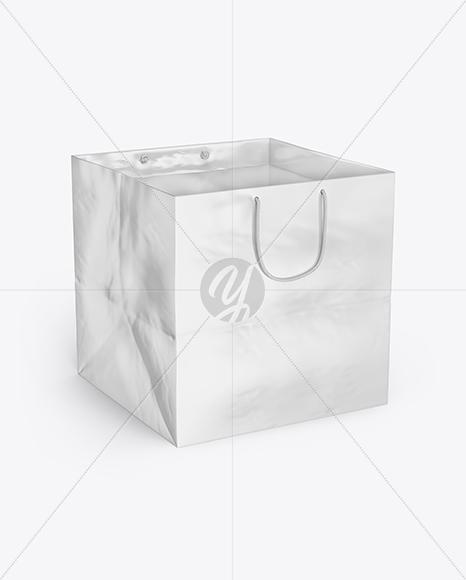 Square Glossy Paper Bag Mockup