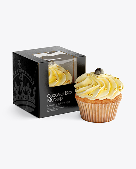 Cupcakes W Box Mockup In Object Mockups On Yellow Images Object