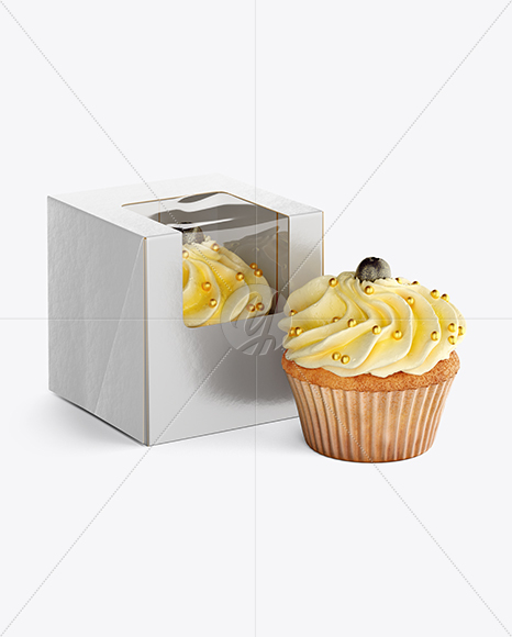 Cupcakes W Box Mockup In Object Mockups On Yellow Images