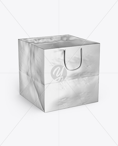 Square Metallic Paper Bag Mockup