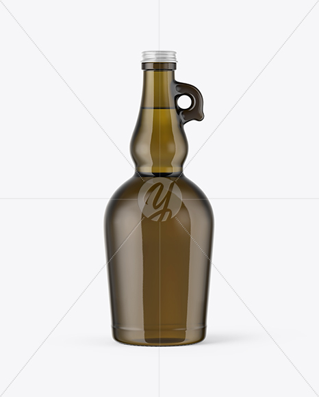 750ml Antique Green Glass Olive Oil Bottle Mockup