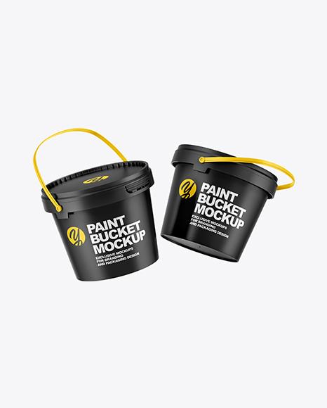Two Matte Paint Buckets Mockup