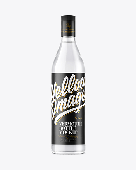 Clear Glass Vermouth Bottle Mockup