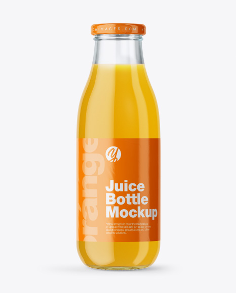 Clear Glass Bottle With Orange Juice Mockup