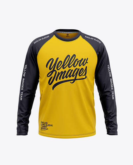 Men S Raglan Long Sleeve T Shirt Mockup Front View In Apparel