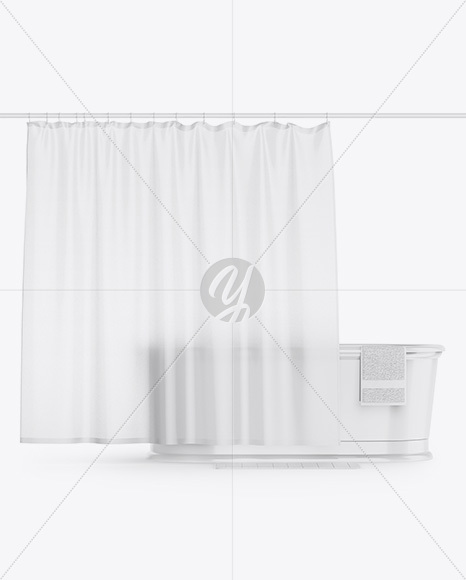 Bath W Frosted Shower Curtain Mockup