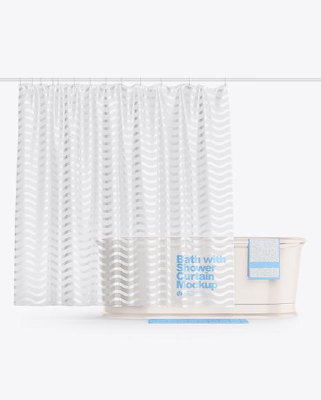 Bath w/ Transparent Shower Curtain Mockup
