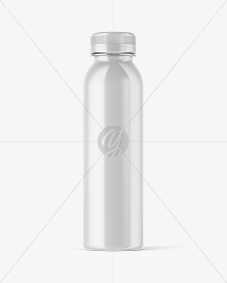 Plastic Transparent Bottle in Glossy Shrink Sleeve Mockup