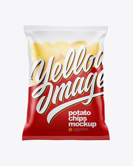 Matte Bag With Corrugated Potato Chips Mockup