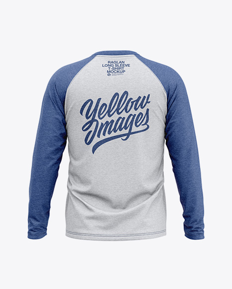 Men S Heather Raglan Long Sleeve T Shirt Mockup Back View In