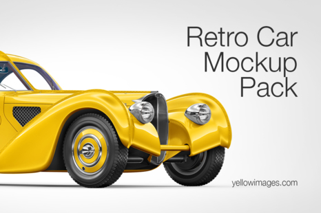 Download Compact Car Mockup Pack In Handpicked Sets Of Vehicles On Yellow Images Creative Store PSD Mockup Templates