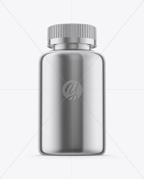 Metallic Plastic Pills Bottle Mockup - Hero Shot