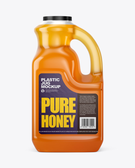 Plastic Jug w/ Pure Honey Mockup