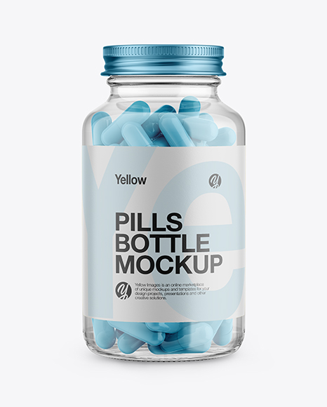 Clear Glass Bottle With Pills Mockup - Front View