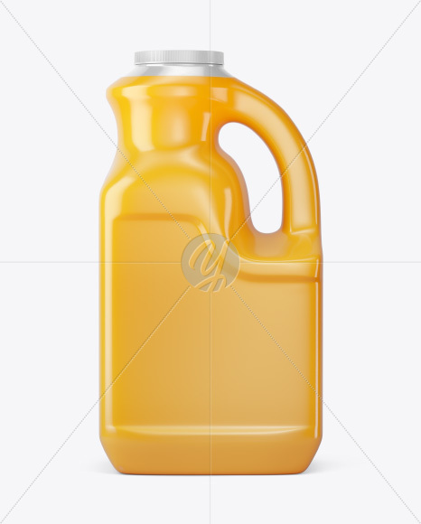 Plastic Jug w/ Orange Juice Mockup