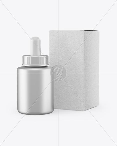 Metallic Dropper Bottle w/ Kraft Box Mockup