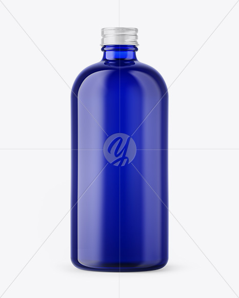 Blue Glass Bottle Mockup In Bottle Mockups On Yellow Images