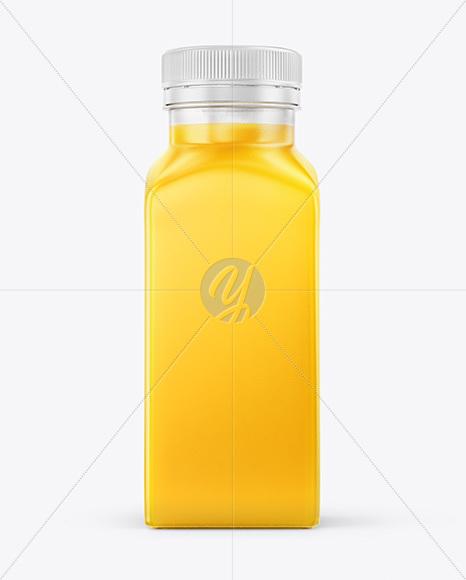 Square Orange Juice Bottle Mockup
