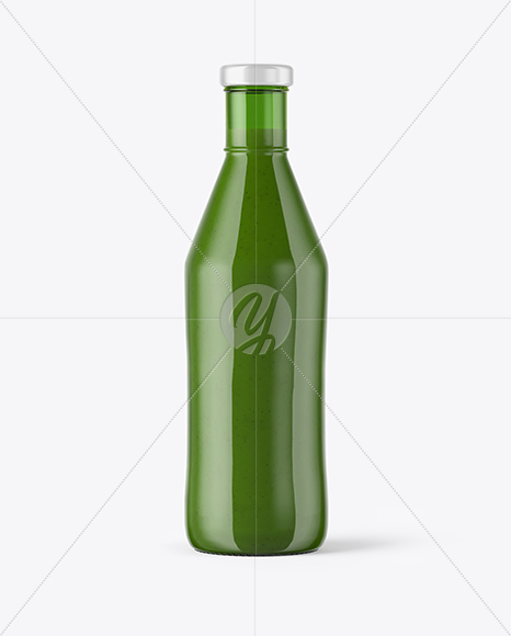 Green Glass  Bottle with Smoothie Mockup