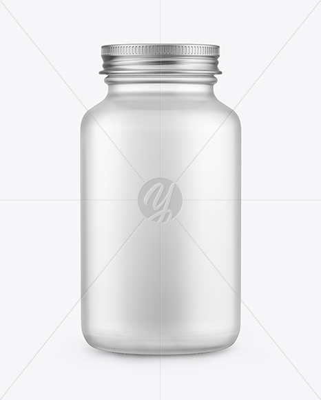 Frosted Glass Bottle with Metallic Cap Mockup