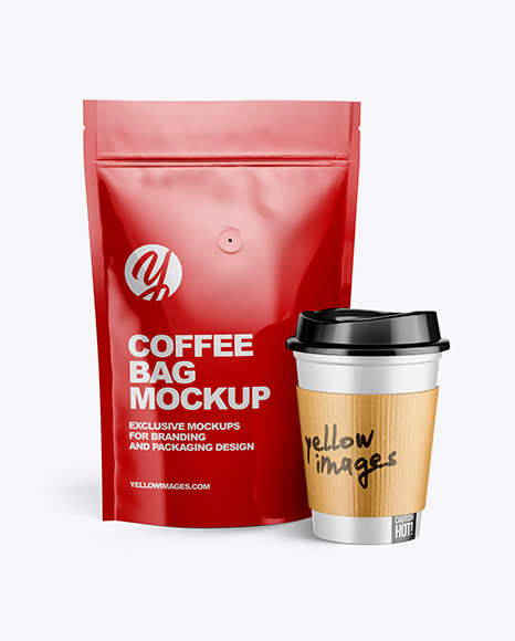 Free Download Glossy Pouch Coffee Cup Mockup PSD - Free PSD Mockup Templates