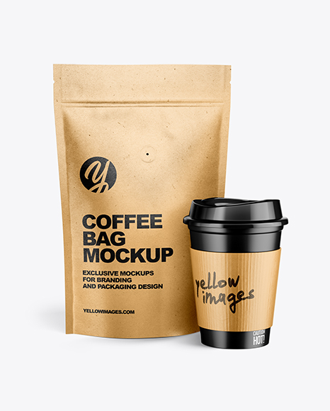 Download Kraft Pouch W Coffee Cup Mockup In Packaging Mockups On Yellow Images Object Mockups PSD Mockup Templates