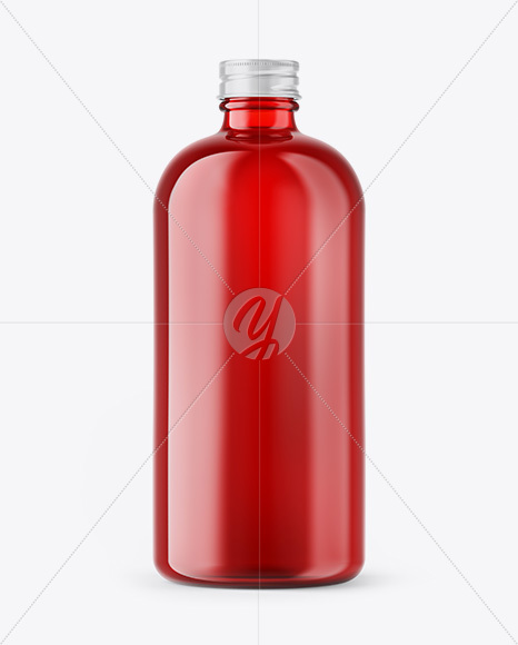 Red Glass Bottle Mockup In Bottle Mockups On Yellow Images