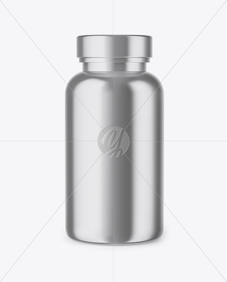 Metallic Pills Bottle Mockup - Front View