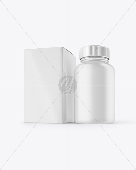 Matte Pills Bottle with Box Mockup