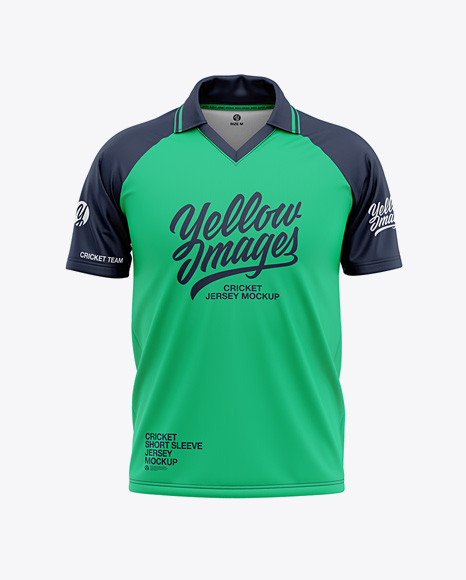 Men S Short Sleeve Cricket Jersey Front View All Free Mockups