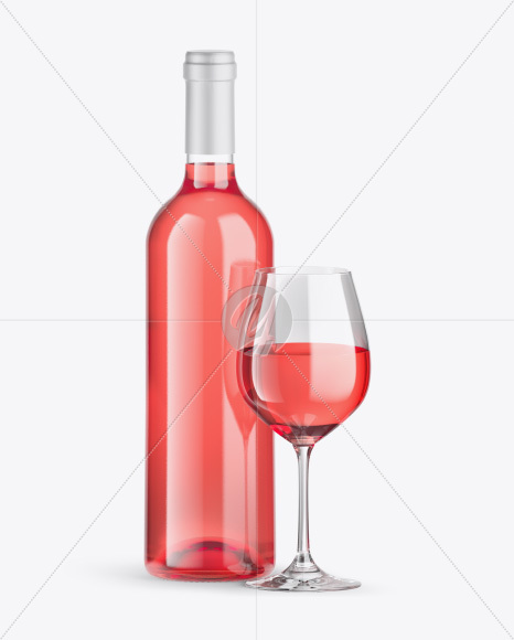 Clear Pink Wine Bottle w/ Glass Mockup