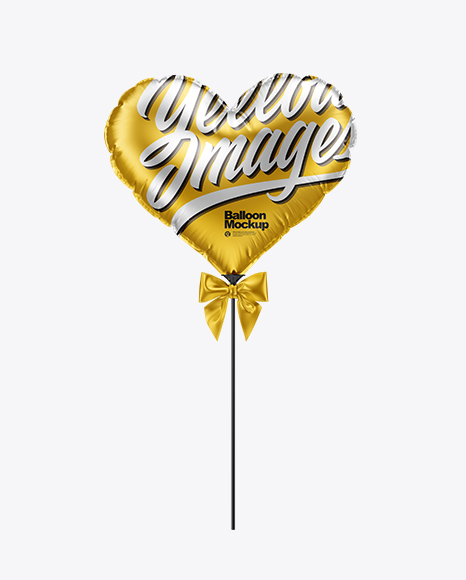 Matte Metallic Heart Foil Balloon Mockup