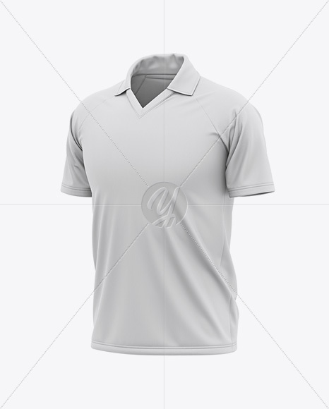 Men's Raglan Short Sleeve Cricket Jersey / Polo Shirt - Front Half Side View Of Soccer Jersey
