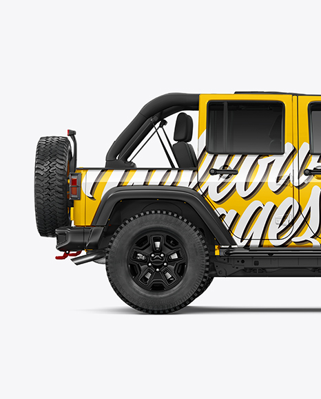 Off-Road SUV with Open Roof Mockup - Side view - Best