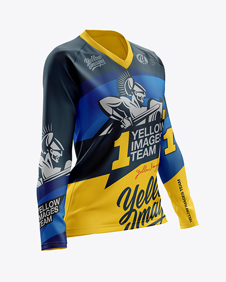 Women's MTB Trail Jersey LS mockup (Half Side View)