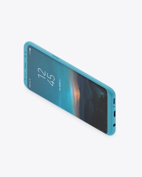 Isometric Clay Samsung Galaxy S8 Mockup