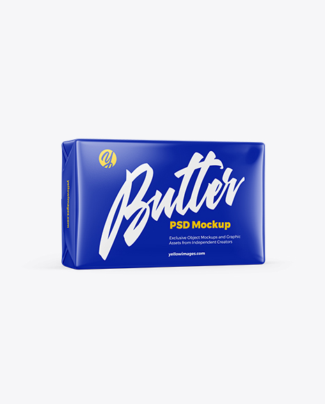 Download Glossy Butter Block Mockup In Packaging Mockups On Yellow Images Object Mockups PSD Mockup Templates