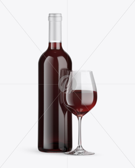 Clear Red Wine Bottle w/ Glass Mockup