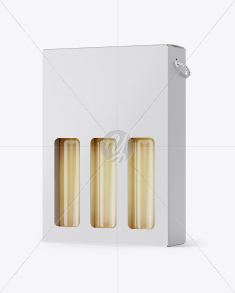 Matte White Wine Bottles Box Mockup