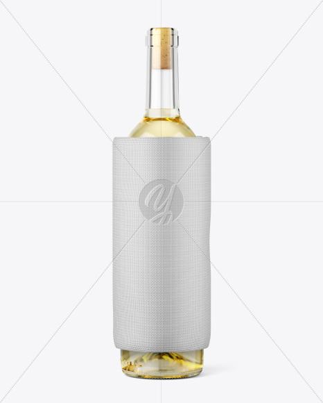 Clear Glass White Wine Bottle w/ Sleeve Cooler Mockup