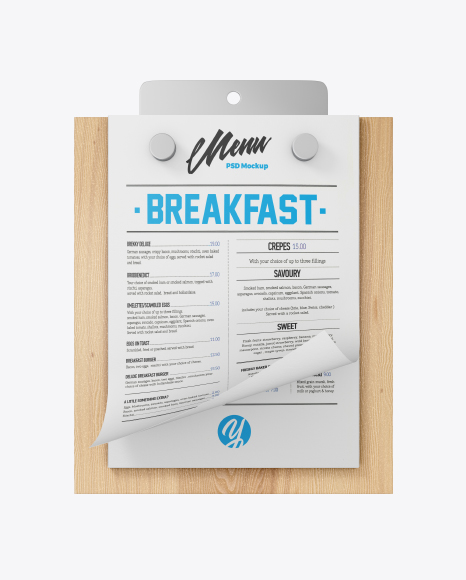 Menu w/ Textured Papers Mockup