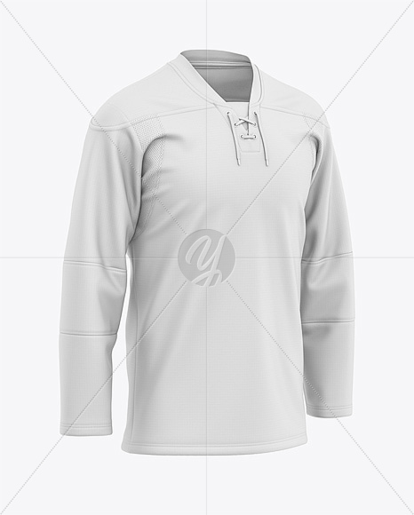 Men's Lace Neck Hockey Jersey Mockup - Front Half-Side View